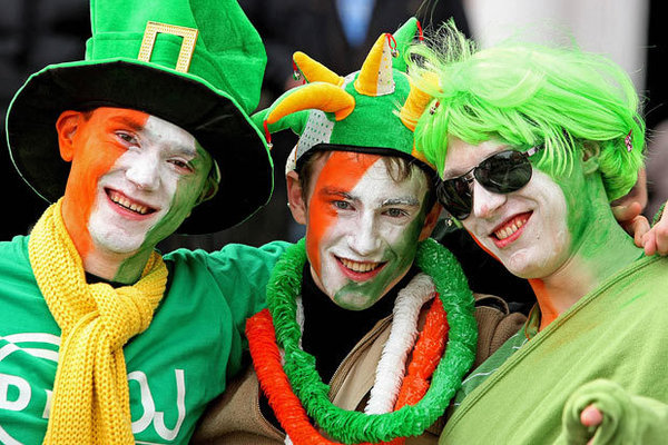 three boys in fancy dress for Saint Patrick's Day